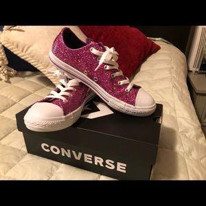 Converse Metallic Pink Juniors tennis shoes